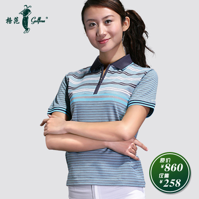 Short-sleeved T-shirt female casual golf apparel mercerized cotton / Paradigm blues cool breathable T-shirt