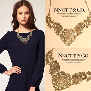 Ожерелье N Официальный сайт синхронизируется с Европейский стиль дворца в стиле Ретро полой резной ключицы воротник ожерелье цепь