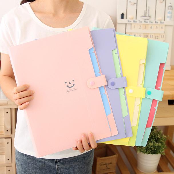 微笑可爱糖果多层文件夹 A4插页文件夹文件袋 学生文具手提资料袋