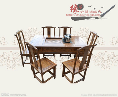 Wood carving tea table tea sets tea Fun Ming and Qing antique dining table bucket four Chinese Qi Jiantao send electric teapot