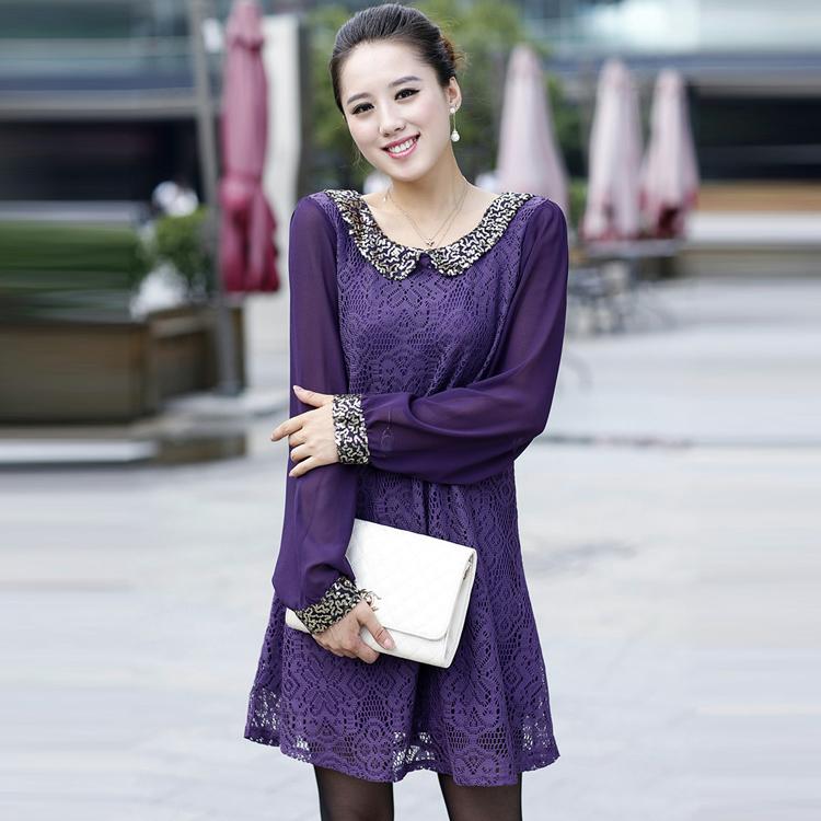 Женское платье Осенние новых блестка кружева платья плюс размер женщин платья шифон длинное платье дамы