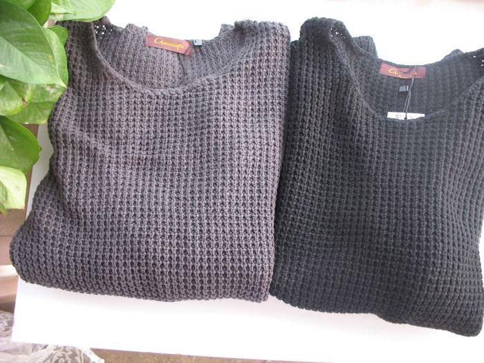 Свитер женский Экспортируется в Европу, винтажные crewneck свитер хлопка вязать основы литературного стиля (серый \ \ черно-белый) Разное Длинный рукав Отложной воротник