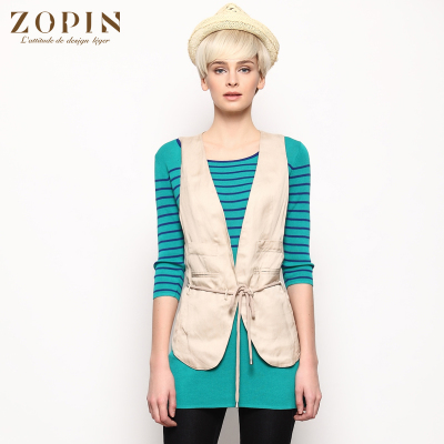 zopin works 2014 summer new counters authentic Korean version of stitching without buckle short paragraph vest Z13S3V002