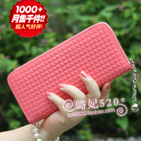 2013 new Candy-colored zipper wallet ladies wallets Korean ladies wallet, cell phone bag clutch bag