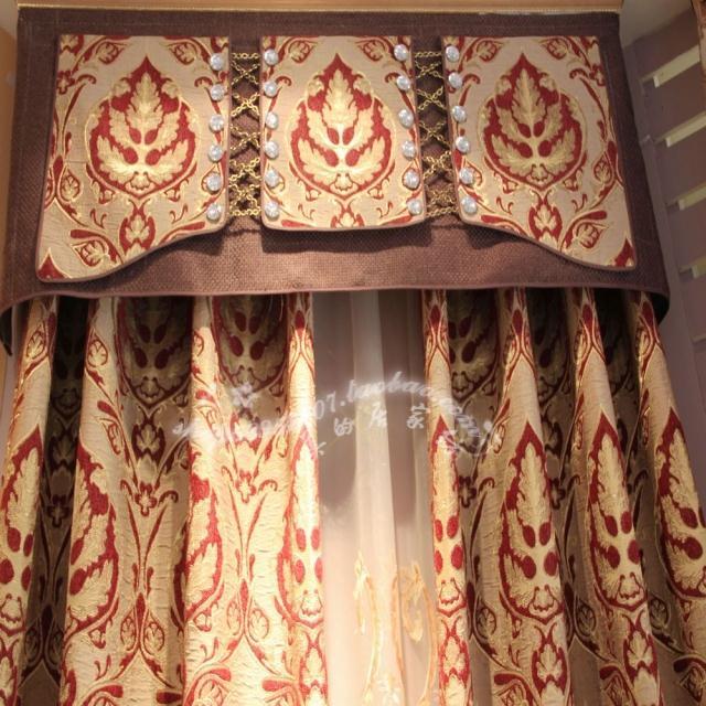 温馨提花黄色窗帘定制 (239元)  4: 高档欧式经典复式楼窗帘成品定制图片