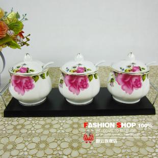 陶瓷调味罐 欧式 厨房用品 套装 带勺子 三件套 贵妃