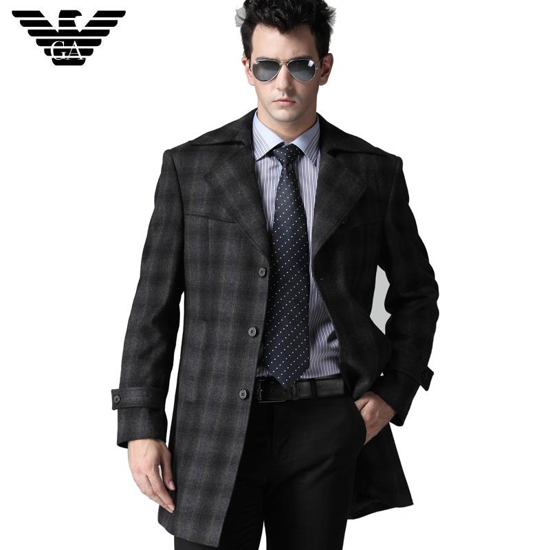 阿玛尼时尚中老年中长款西装领风衣 单排扣 正品男士格纹风衣