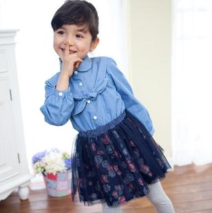 韩国进口童装2014春款 萝莉风格牛仔款长袖连衣裙