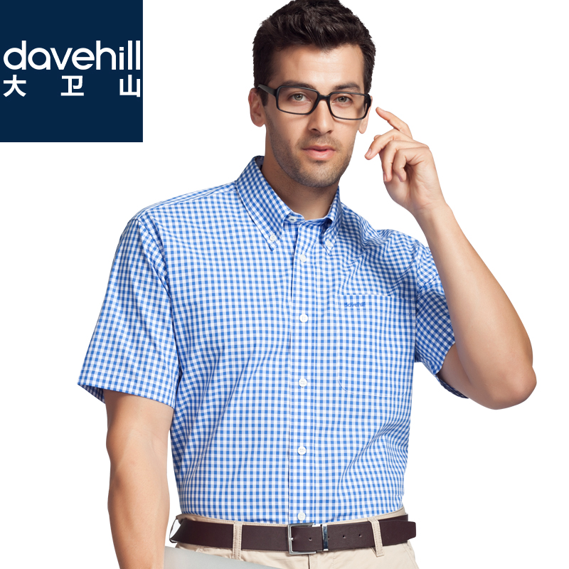 Men's shirts Pure cotton grid Men's short sleeve shirt Business casual davehill David hill middle-aged male short-sleeved shirt in summer