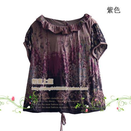 женская рубашка Yunshanshiyi clothing 09xy0024 Оригинальный дизайн Короткий рукав Рисунок в цветочек Лето 2012 Двухслойный воротник Свитер
