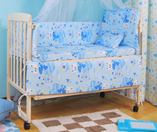 Cotton detachable baby bedding set of 6 may match baby bedding
