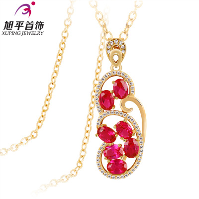 Xuping genuine gold-plated European and American synthetic ruby ??long necklace sweater chain with one hundred female fashion accessories gift