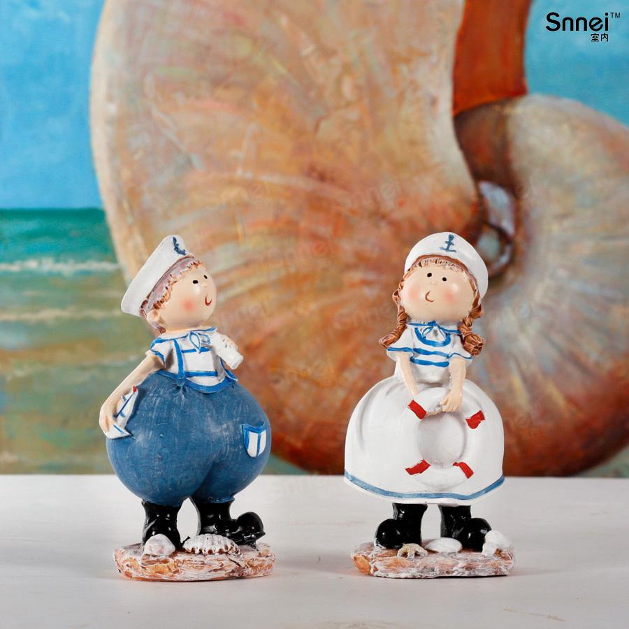 树脂人偶娃娃摆件 可爱海军服男孩女孩 儿童房摆设家居装饰品礼物