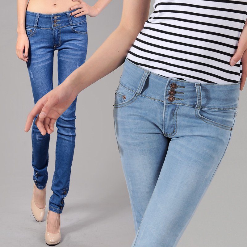 Джинсы женские Плюс размер растянуть двубортный талии тонкий женские брюки 2012 женщин джинсы карандаш брюки ноги штаны Корейский волны