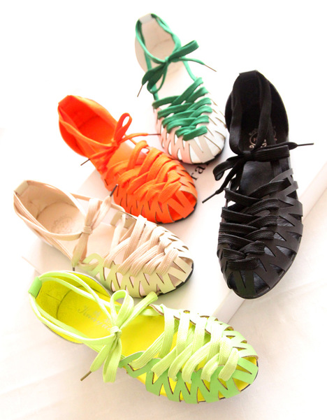 Korean models cross strap flat sandals candy-colored wild thin hollow lace shoes