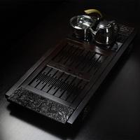 黑檀木功夫茶具套装 实木茶盘四合一电磁炉抽水茶海 99厘米祥龙