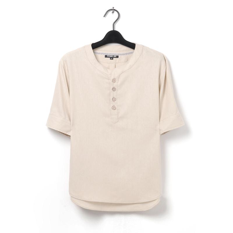 新款日系男士复古棉麻民族风花纹短袖宽松文艺范亚麻衬衫男士衬衣
