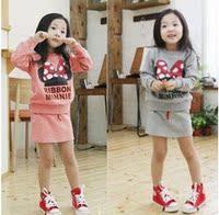 一秒疯抢新款春秋韩版可爱休闲童装迪士尼米妮女童长袖 套装