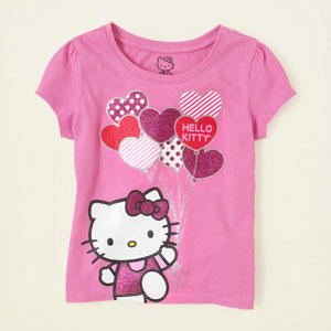 美国The Children's Place童装纯棉短袖T恤圆领HELLO KITTY粉紫4T