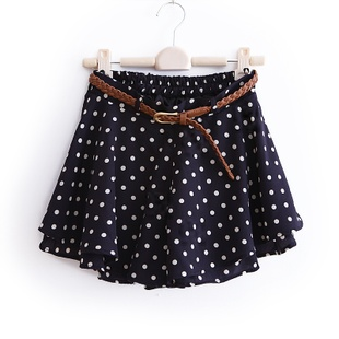 2012 new spring clothing Korean vintage elastic waist chiffon culotte shorts to belt WQ1320