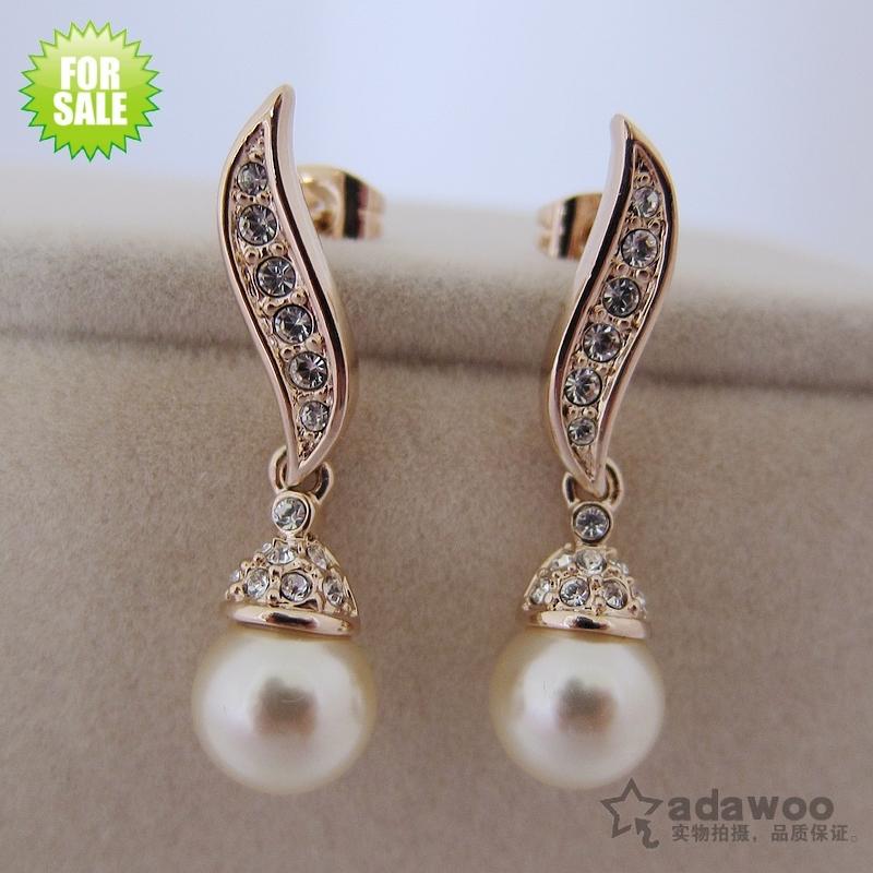 adawoo镀金曲线镶钻珍珠坠长款百搭气质时尚新娘款女耳坠耳饰耳钉