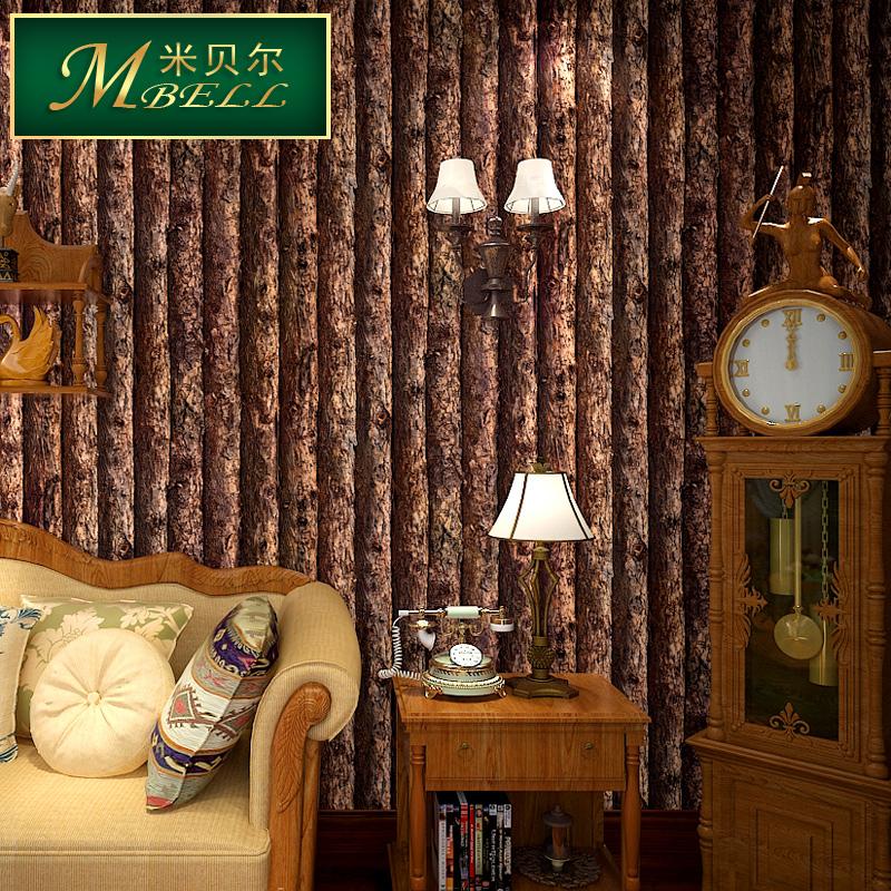 米贝尔墙纸 客厅满铺电视墙背景墙 怀旧美式乡村 木纹 仿树皮壁纸图片