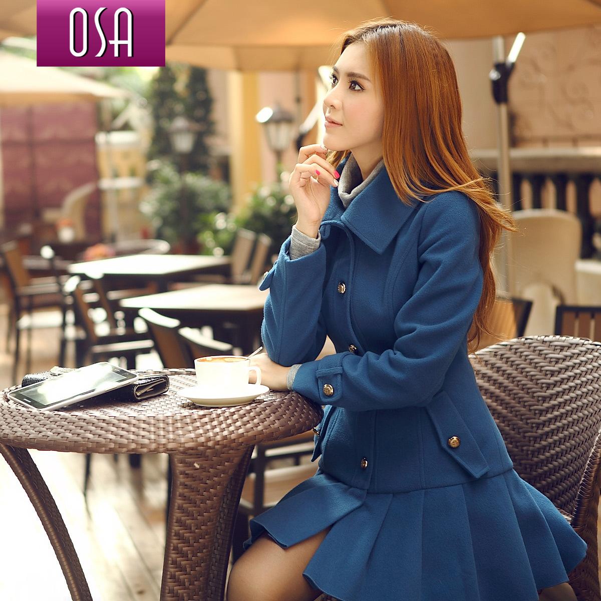 OSA2012秋冬装新款韩版女装修身中长款毛呢外套呢子大衣女D23736