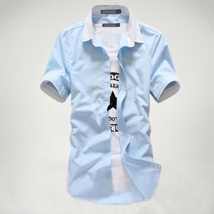 美特斯邦威2014夏装新款男士短袖衬衫 男纯色韩版修身衬衣潮清新