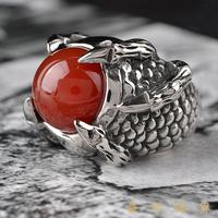 韩版潮人朋克钛钢龙爪玛瑙戒指日韩男士霸气原创夸张红宝石指环女
