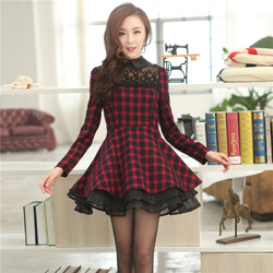 Slim Korean style lace dress long sleeve dress temperament