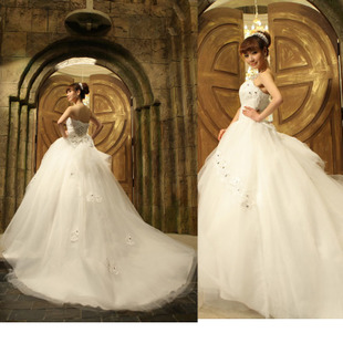 Wedding dresses Princess 2012 latest Korean belly band sweet Korean style tail wedding dress HST-1