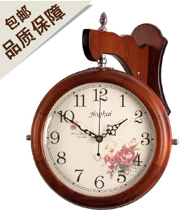 正品打折田园欧式双面挂钟静音创意客厅实木双面钟钟
