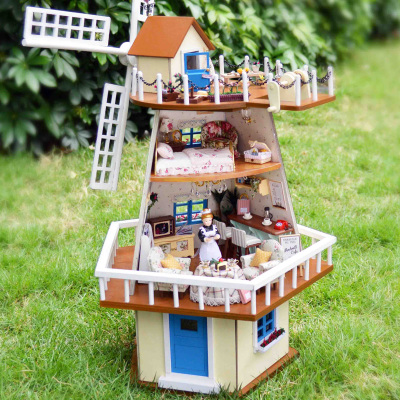 Chi Fun House DIY cabin small house architectural model assembled by hand windmill small building waiting for the monsoon shipping