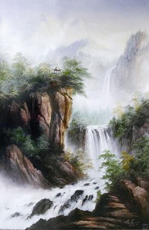 客厅大幅油画山水绿色森林大山景风水画风景中式画国画景海纳百川图片