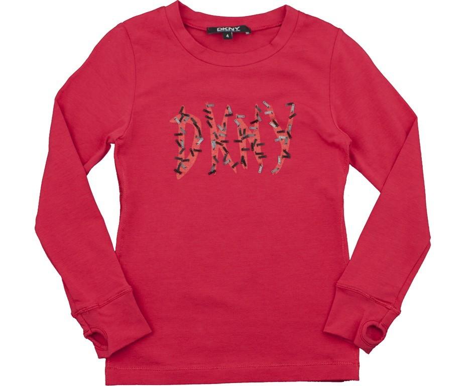 Футболка детская Французские аутентичные DKNY счетчики последних девочек классический красный ногтей бусинка t с длинным рукавом Красный цвет