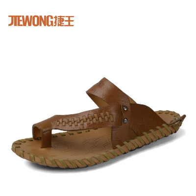 Jie Wang 2014 spring and summer new fashion casual sandals and slippers comfortable leather sandals