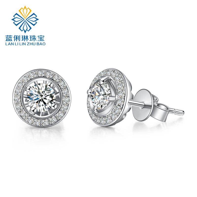 蓝俐琳专柜正品 豪华群镶四爪18K白金钻石女款耳钉耳饰 个性定制