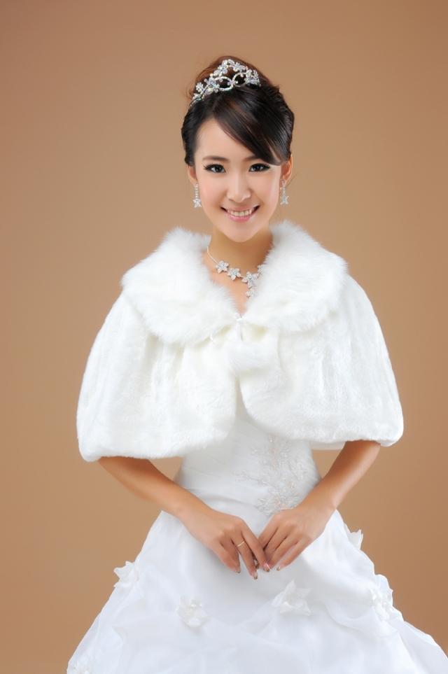 新款高档毛披肩*新娘披肩*伴娘披肩/婚纱配件/红色/白色