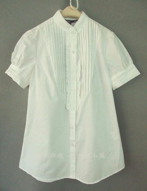 женская рубашка cs072 Городской стиль Короткий рукав Однотонный цвет Воротник-стойка