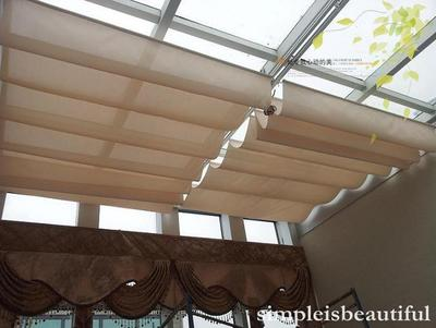 Jia Li Si-track electric Sunshade / sun room ceiling curtain / insulation UV curtains / rolling