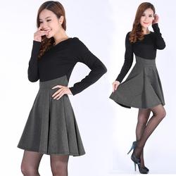 [仅此一天]2014秋装新款韩版大码女装修身显瘦圆领拼接春秋打底裙