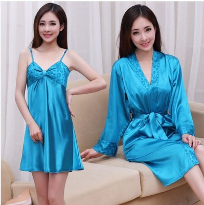 New simulation silk pajamas Sexy Lingerie female Xia Chunqiu suspenders silk two-piece gown tracksuit