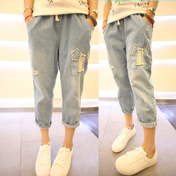 Hole in baggy jeans female summer thin models denim pant BF wind Cropped Jeans Denim Pants