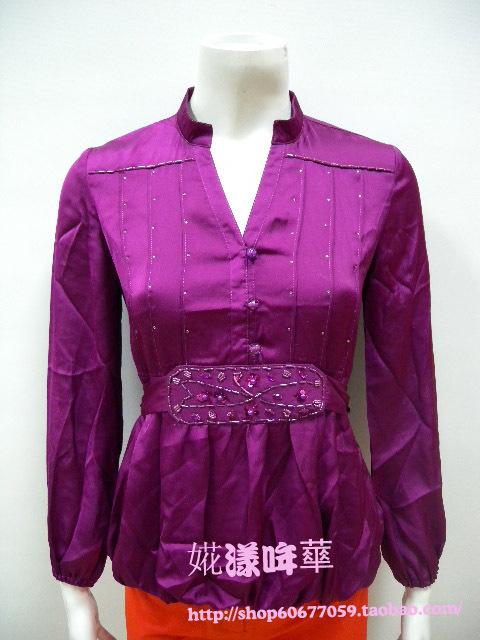 женская рубашка m27s118 Casual Длинный рукав Однотонный цвет V-образный вырез