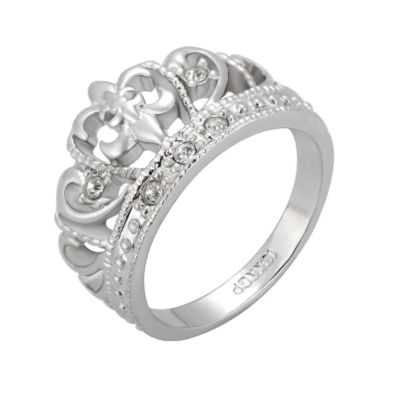 39包邮 宫廷公主皇冠戒指 优雅复古法式 镀18K白金 女食指环饰品