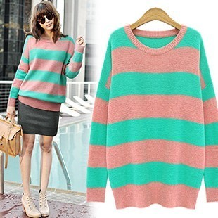 Korea purchasing genuine 2012 spring clothing women's retro relaxed CONTRAST COLOR stripes in Europe and increase code head knit shirts