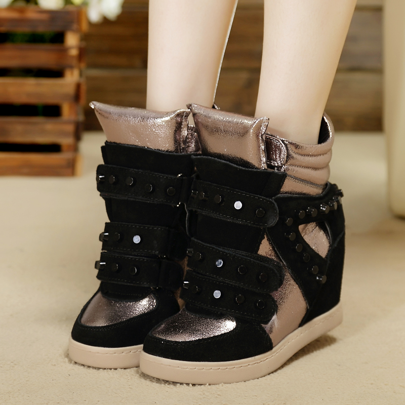 Increased spell color shoes sneakers casual shoes, high shoes inside the star burst models female Korean tidal shoes Velcro