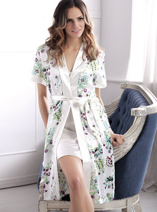 Dream ba Sally pajamas and refined printing copy silk short sleeve robes (011411211)