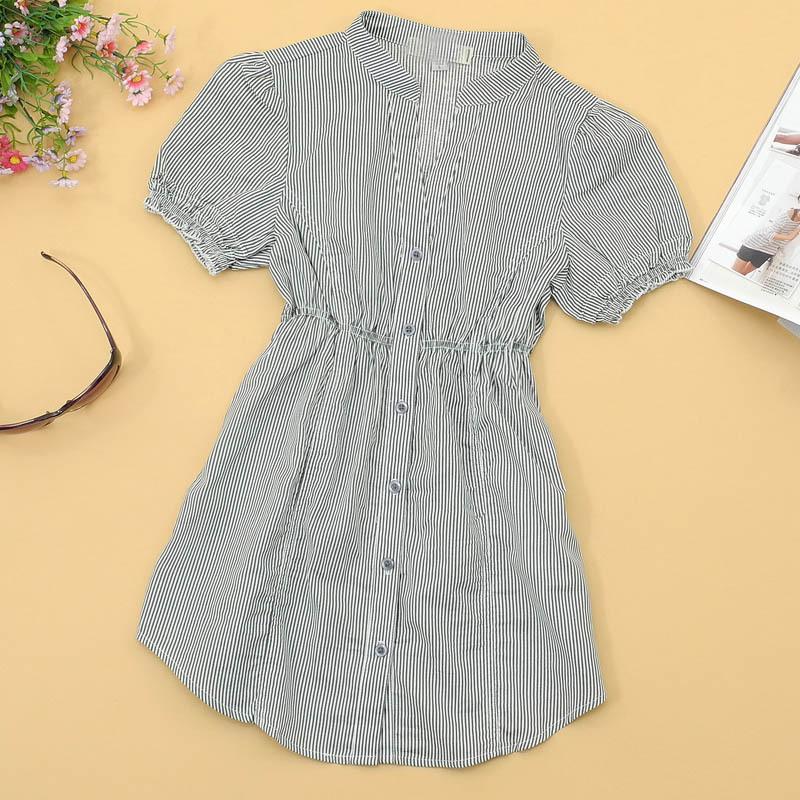 женская рубашка Inauspicious A115-187 2011 Городской стиль Короткий рукав В полоску Воротник-стойка