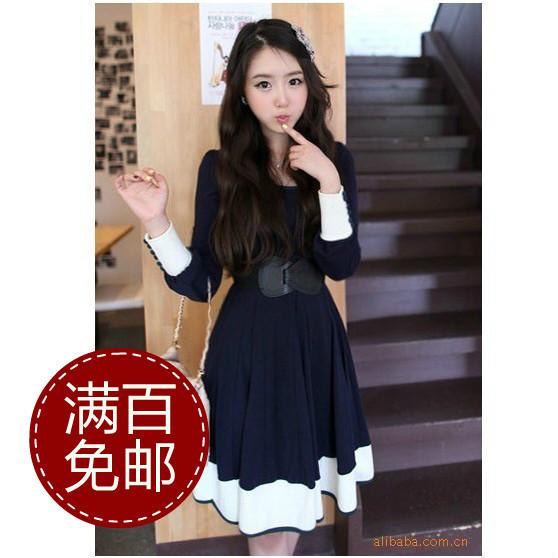 Женское платье Тысяч шаг песка корейских женщин оптом смешанных цветов большой платье Гуанчжоу оптовые Alibaba Осень 2012 Парча